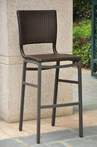 (Barcelona Resin Wicker Outdoor Bar Height Chairs stools (SET)