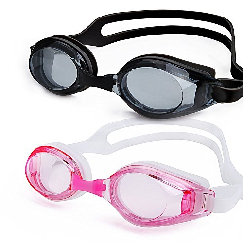 Price comparison product image Swim Goggles, NonoUV 2-Pack Unisex Clear Water Sport Silicone Racing Goggles No Leaking Anti Fog UV Protection Triathlon Swimming Glasses for Adult Men Women Youth Kids Child