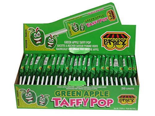 Paskesz Green Apple Taffy Pop 1 Box of 50 (Taffy Green)