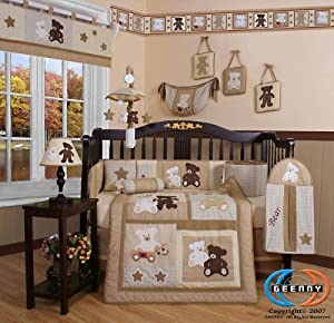 Boutique Baby Teddy Bear 13pcs Crib Bedding Set By Geenny Designs from GEENNY