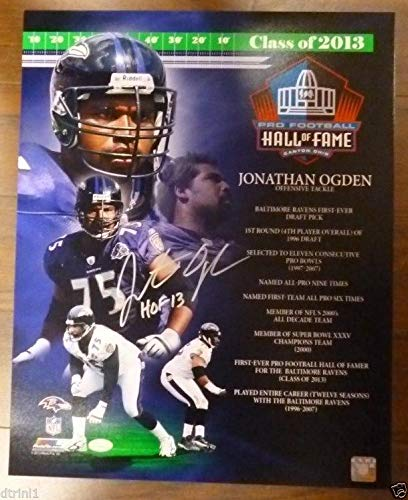Signed 16x20 Hall Of Fame - Baltimore Ravens 2013 Hall Of Fame Jonathan Ogden Autographed Signed Auto 16 X 20 Stats Photo Memorabilia JSA