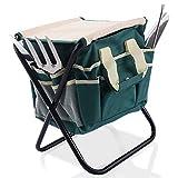 Goplus 7 PCS Garden Tool Bag Set Folding Stool Tools Gardening Stainless Steel Gift