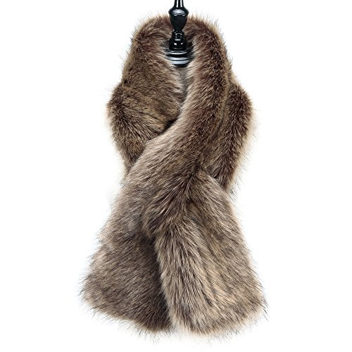 Caracilia Women Winter Scarf Wrap Faux Fur Collar Shawl Shrug Brown 120CA97 by Caracilia (Image #7)