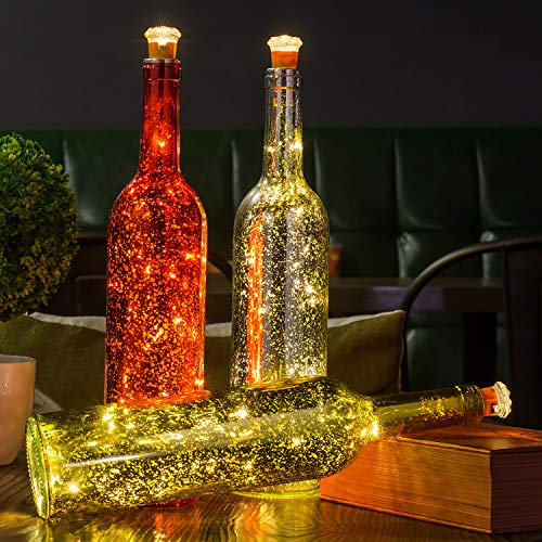 HUAFA 3 Pack Wine Bottle Lights (Gold&Red&Silver Bottle), Powered by 3 Pieces LR44 Battery(Included), Decorative Lights for Party, Home Decor, Christmas, Halloween, Wedding, Bars]()