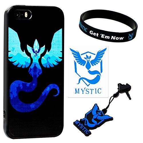 iPhone SE / 5s / 5 Case w/ Pokemon Go [Team Mystic Theme] Blue (1) + Silicone Bracelet (1) + Audio Plug Charm (1) + 2