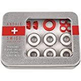 Andale Swiss Tin Box Bearing Skateboard Accessories,Red,8 Pack