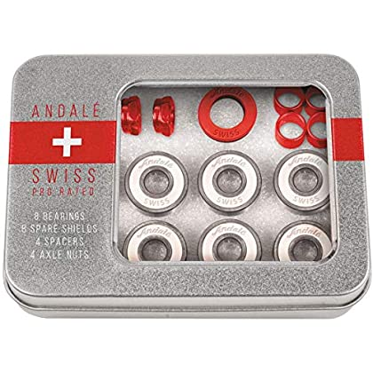 Bearings Andale Swiss Tin Box Bearing Skateboard Accessories,Red,64 Pack