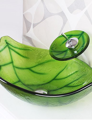 Green Leaf Shape Tempered Glass Vessel Sink With Waterfall Faucet Pop   Up  Drain And Mounting