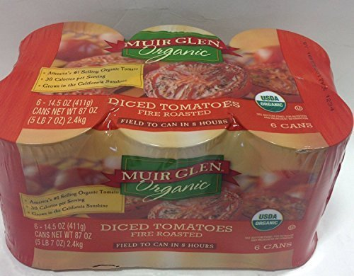 Muir Glen Organic Diced Tomatoes Fire Roasted- 6 Cans of 14.5 Oz by Muir Glen