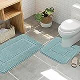 H.Versailtex Bathroom Contour Rugs Combo, Chenille Fabric Microfiber Soft Shaggy Non Slip 50 X 81 Bath Shower Mat and 50 x 45U shaped Toilet Floor Rug Bathroom Carpet - EggShell