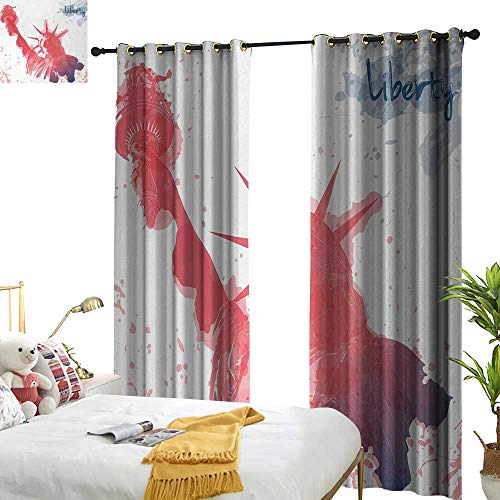 Anyangeight 4th of July,Decor Curtains by,Watercolor Lady Liberty Silhouette with Paint Splashes Independence,W96 xL84,Suitable for Bedroom Living Room Study, etc. -