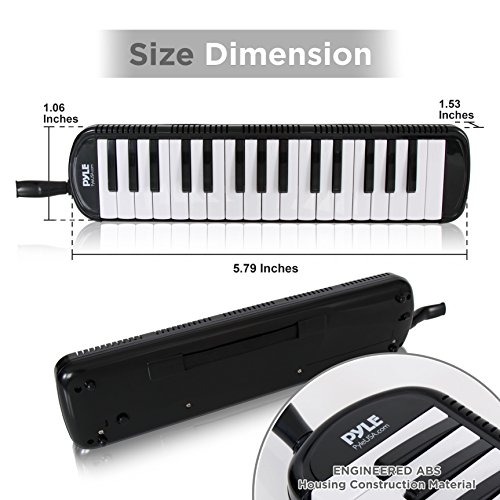 51d%2BYbPaysL - Pyle Black Professional Keyboard Harmonica Instrument - Also Called Mouth Organ, Wind Piano - Tremolo Key Melodica Kit Set Includes Mouthpiece, Tube Accessories - Great for Beginner or Band - PMLD12BK