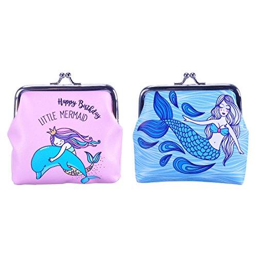 Oyachic 2 Pack PU Coin Purse Kisslock Change Pouch with Clasp Closure (Mermaid pink and blue)