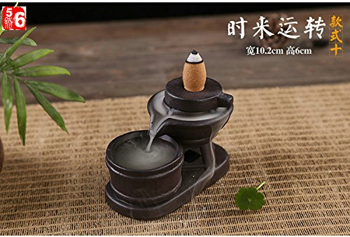 Sparik Enjoy Ceramic Backflow Incense Tower Burner Statue Figurine (Stone 10) (Incense Stone Tower)
