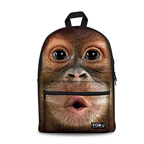 HUGSIDEA Funny Monkey Printed Backpack Kids Students School Bag Rucksack
