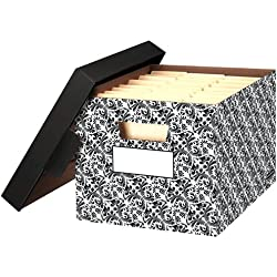 Bankers Box STOR/FILE Decorative Medium-Duty Storage Boxes, FastFold, Lift-Off Lid, Letter/Legal, Brocade, 4 Pack (0022705)