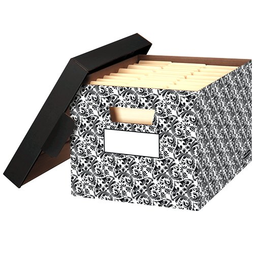 Bankers Box Stor File Decorative Storage Boxes - Letter Legal - 10 x 12 x 15 Inches - Brocade - 4 Pack (0022705)