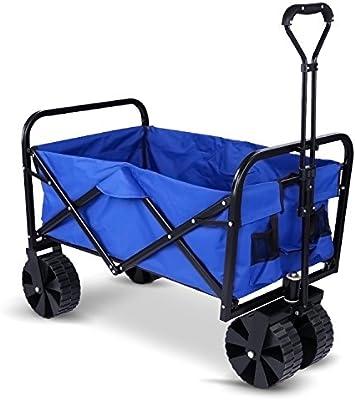 Meditool Carretillas de jardín, Carro de mano, Carro plegable, Carro de playa, Carrito de transporte, Paño de Oxford impermeable, Carga 70kg: Amazon.es: Jardín