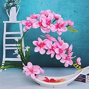Moth Orchid Artifical Flower Ceramic Vase Suit Home Decor Silk Fake Flower Ornament Art Potted Plant,Pink 66