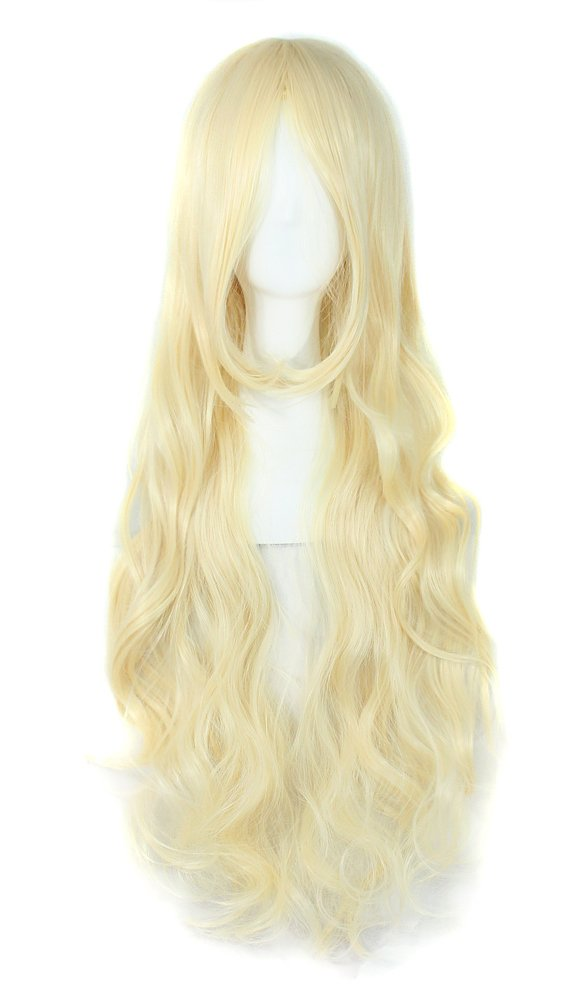 MapofBeauty 32'' 80cm Long Hair Spiral Curly Cosplay Costume Wig (Light Blonde)