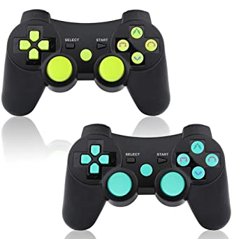PS3 Controller Wireless 2 Pack Double Shock Bluetooth Joystick Gaming  Controller for Playstation 3 with Charger Cable (Blue&Green 2 Pack)