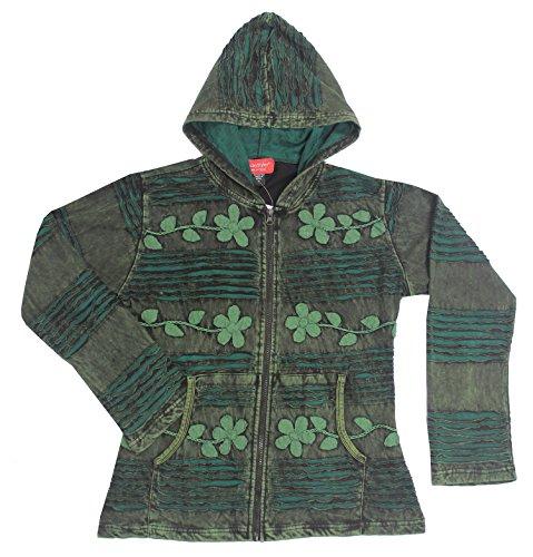 KayJayStyles Women's Embroidered tie Dye Funky Hippie Cotton Bohemian Jacket (Medium, (Green Embroidered Jacket)