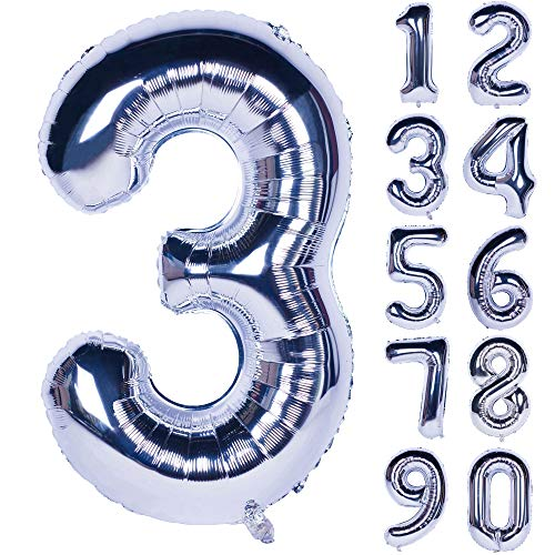 40 Inch Silver Numbers 0-9 Birthday Party Decorations Helium Foil Mylar Number Balloon Digital 3