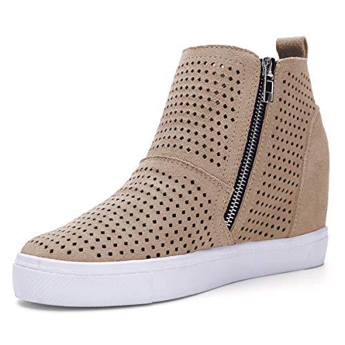Athlefit Women's Hidden Wedge Booties Perforated Platform Sneakers Size 8 Khaki