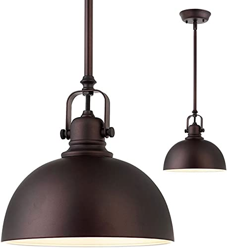 2 Pack of Kitchen and Bar 1 Light Mini Pendants with Oil Rubbed Bronze Metal Shade