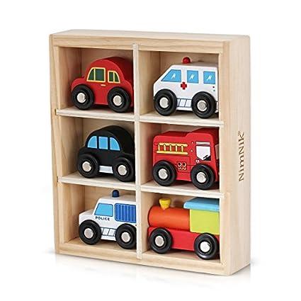 NimNik Holzspielzeug Autos Bus Motor Notfall Fahrzeuge Pädagogisches Spielzeug Spielzeugautos