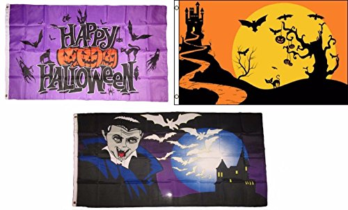 ALBATROS 3 ft x 5 ft Happy Halloween 3 Pack Flag Set #130 Combo Banner Grommets for Home and Parades, Official Party, All Weather Indoors Outdoors -