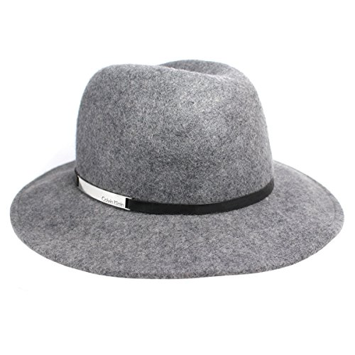 Calvin Klein Women's Wool Panama Fedora with Leather Trim, Gray (One Size)