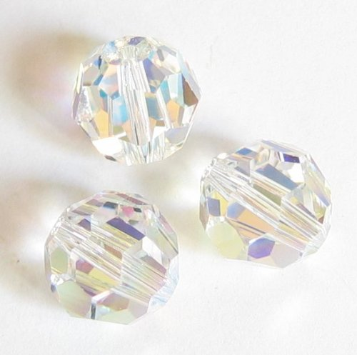 12 pcs Swarovski Crystal 5000 Round Faceted Bead Clear AB