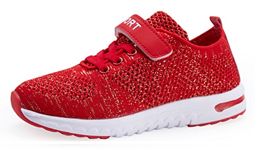 KARIDO Kids Breathable Knit Sneakers Lightweight Athletic Running Shoes(EU 33,G-Red) ()