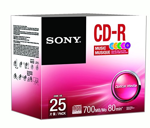 Sony 25CRM80XS CD-R Audio Color in Color Slim Jewel Cases 25-Pack