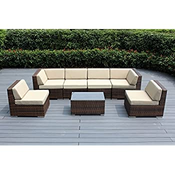 Ohana 7 Piece Outdoor Mixed Brown Wicker Patio Furniture Sectional  Conversation Set With Free Protective Cover, Sunbrella Antique Beige