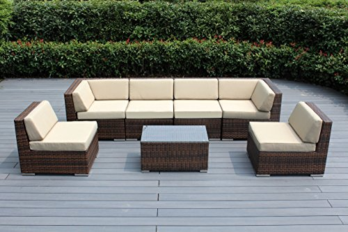 Ohana 7-Piece Outdoor Patio Furniture Sectional Conversation Set, Mixed Brown Wicker with Sunbrella Antique Beige Cushions - No Assembly with Free Patio Cover ()