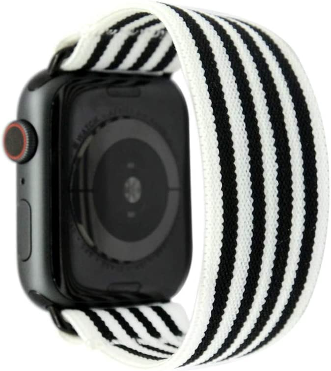 Tefeca Stripe Pattern Elastic Compatible/Replacement Band for Apple Watch 38mm/40mm (Black Adapters, S fits Wrist Size : 6.0-6.5 inch)