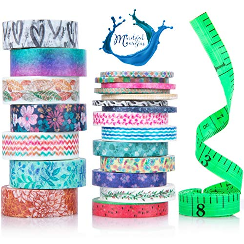 Cute Washi Tape Set 15mm 8mm and 3mm Wide to Thin | Decorative Tape | Colorful Floral Fall Patterns | Foil Washi Tape | DIY Scrapbooking Supplies for Art Crafts | 21 Rolls in 3 Sizes with Tape Measure