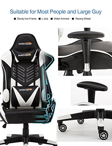 WENSIX Ergonomic High Back Computer Gaming Chair for PC Racing Chairs with Adjustable Headrest and Backrest (White/Black) by WENSIX (Image #2)