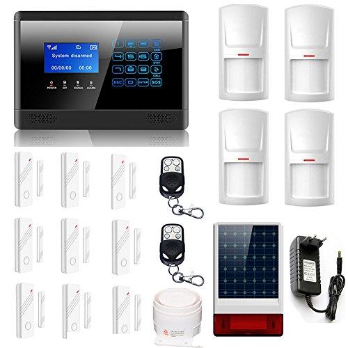 ABTO M2BX komplettes drahtloses GSM Home Security Alarm-System zur Absicherung von 9 Türen oder Fenstern über Magnetkontakte und 4 Räumen über Bewegungsmelder Mit 2 Fernbedienungen,Innen- und Außensirene(C-schwarz)