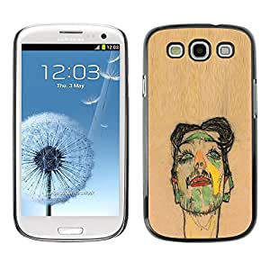 LECELL--Funda protectora / Cubierta / Piel For Samsung Galaxy S3 I9300 -- Artist Painting Sketch Portrait Brown --