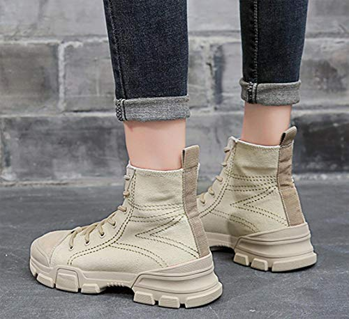 CAMSSOO Martin Slip Women's Cream Round Canvas Toe Fashionable Autumn Boots Winter coloured Boots Non rgrUTn