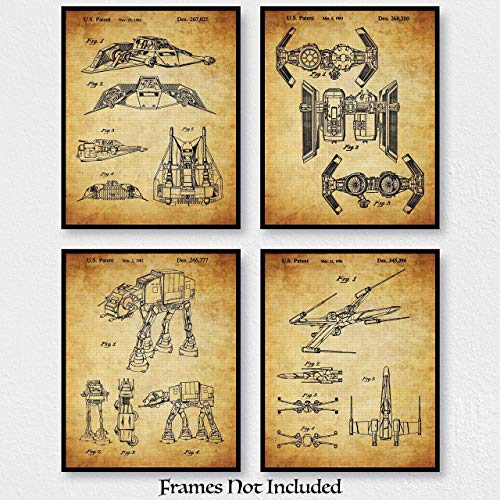 Great Gift For STAR WARS Fans - Original STAR WARS Vehicles Patent Art Print - Set Of Four (4) 8x10 Unframed - Wall Decor For Man Cave, Home Theatre, Office