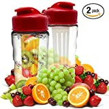 Infusion Water Bottle, 2 Pack Leak Proof, Flip Top Lid Fruit Infuser Bottle By FlavorFast