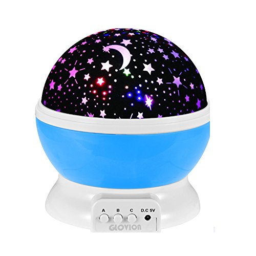 - Glovion Moon and Star Dream Color Projection Lamp Romantic Bedroom Night Light -Blue