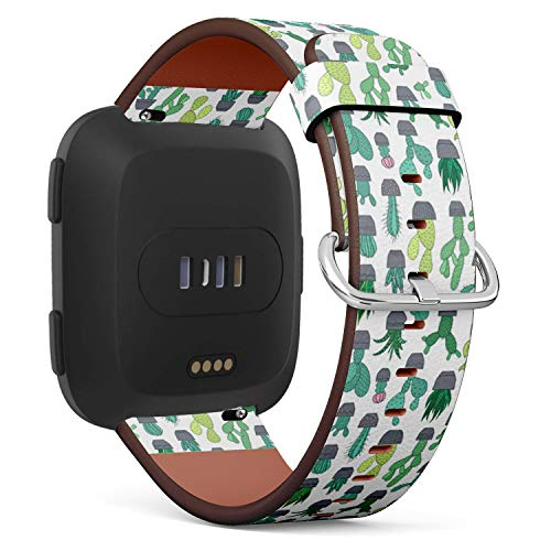 Compatible with Fitbit Versa - Quick-Release Leather Band Bracelet Strap Wristband Replacement - Cactus Succulent Flowers Species