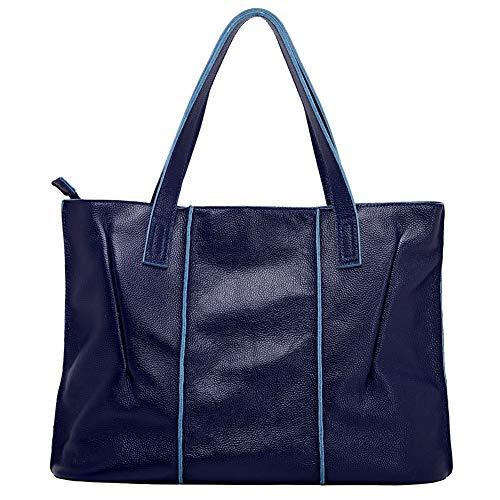 Navy Leather Handbag - 8