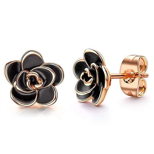 586c16fa58a15 18K Gold Plated Black Rose Flower Stud Earrings for Women Girls ...