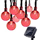 Qedertek Solar String Lights Outdoor,Bubble Globe Solar Lights 20foot 30 LED String Light Crystal Ball Lighting for Fairy Garden, Patio, Wedding, Party and Holiday Decorations(Red)